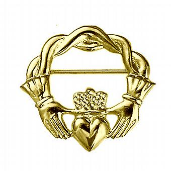 9ct Gold 28x30mm verdreht cord Top Claddagh-Brosche