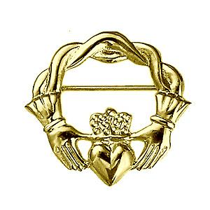 9ct Gold 28x30mm twisted cord top Claddagh Brooch