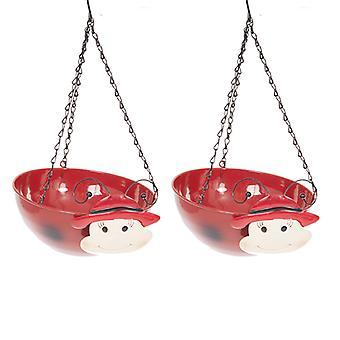 Pair LADYBIRD Wobblehead Metal Hanging  Baskets 11' 27cm diameter