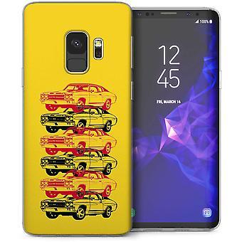 Samsung Galaxy S9 Retro Amerikaanse sportwagen TPU Gel geval – geel