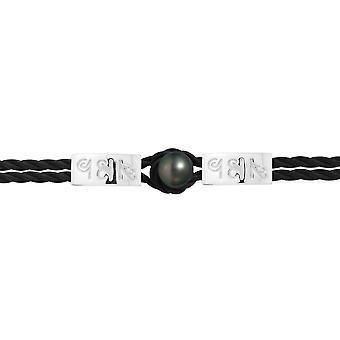 Hieroglyphen ägyptischen Mann-Frau Schwarz geflochten, Neopren-Armband schwarz 10 mm Tahiti-Perle und