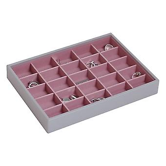 Stackers Dove Grey & Antique Rose Classic 25 Section Jewellery Tray