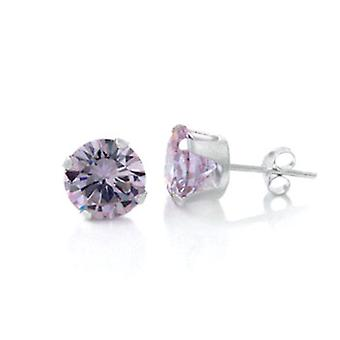 925 sterling silver Stud Earrings - round / Lavender