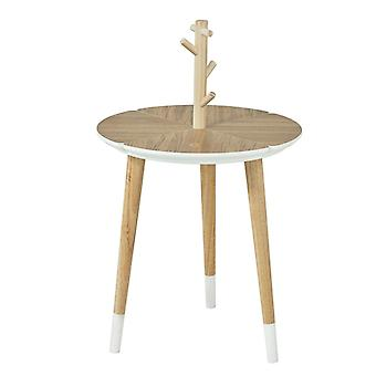 SoBuy Round Wooden End Side Table with Cup Holders,FBT38-WN
