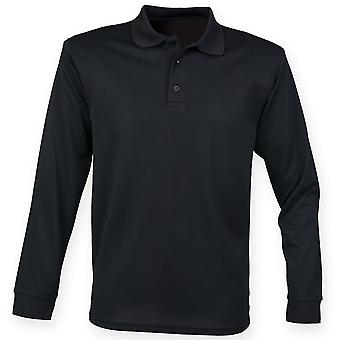 Henbury Mens Long Sleeve Coolplus Polo Shirt