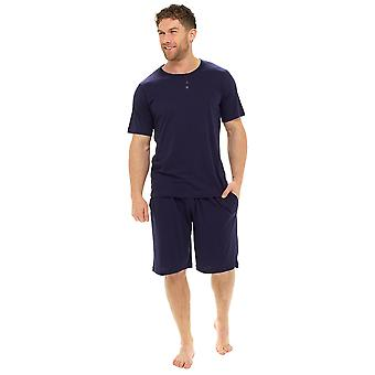 Tom Franken Mens Plain Polycotton korte zomerlounge Pyjamas