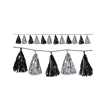 Metallic Tassel Pom Pom Garland Decoration - Silver & Black