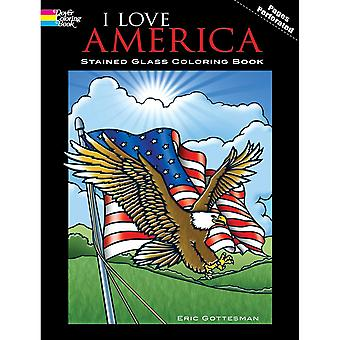 Dover Publications-I Love America Stained Glass Coloring Bo