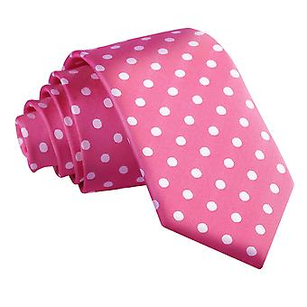 Hete roze Polka Dot slanke Tie