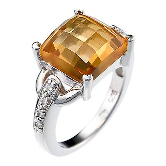 Orphelia Silver 925 Ring Yellow Quartz  Zirconium   ZR-3717