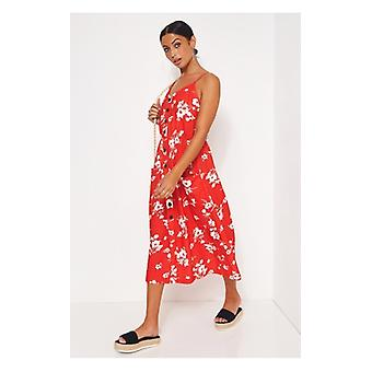 The Fashion Bible Lois Red Floral Button Up Midi Dress