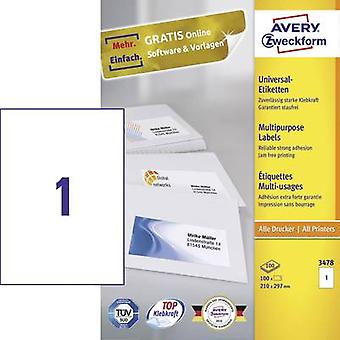 Avery-Zweckform 3478 Labels 210 x 297 mm Paper White 100 pc(s) Permanent All-purpose labels Inkjet, Laser, Copier 100 sh
