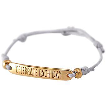 Gemshine - ladies - bracelet - engraved - CELEBRATE EACH DAY - rose gold plated - nude