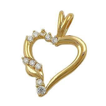 Kettenanhänger Herzanhänger vergoldet Anhänger Herz vergoldet