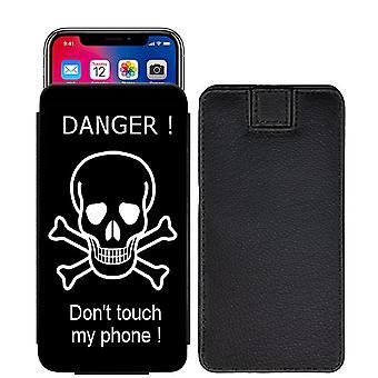 Berühren Sie nicht mein Telefon Brauch entwickelt gedruckt ziehen Registerkarte Beutel Telefon Fall decken für Nokia 7 [S] - DTMF4