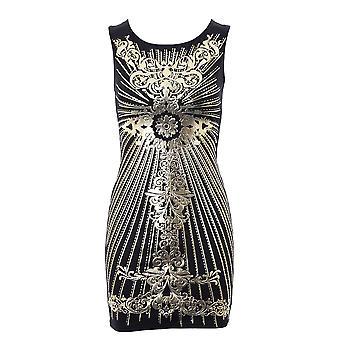 Ladies Gold Foil Print Cross Back Black Ivory Wine Women's Bodycon Dress