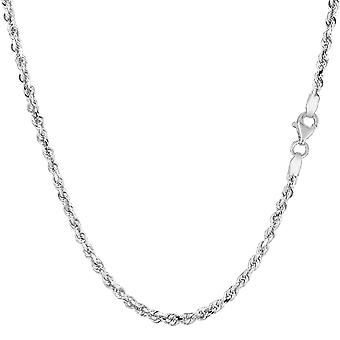 14k bianco tinta oro diamante tagliato collana di corda, 2,25 mm