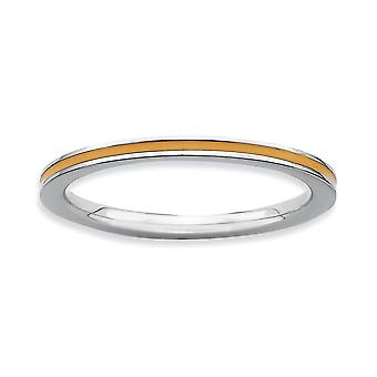 Sterling Silver Polished Rhodium-plated Stackable Expressions Orange Enameled 1.5mm Ring - Ring Size: 5 to 10