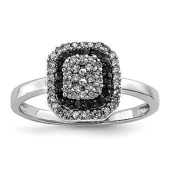 Sterling Silver Polished Gift Boxed Rhodium-plated Black and White Diamond Square Frame Ring - Ring Size: 6 to 8