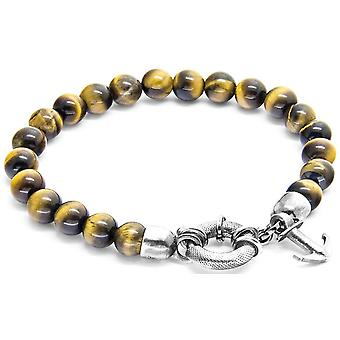 Anchor and Crew Port Silver and Tigers Eye Stone Bracelet - Brown/Silver