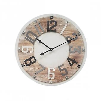 Modern Clock In Wood And Metal With Grey And Black Numbers-Re4993-Rebecca's Furniture