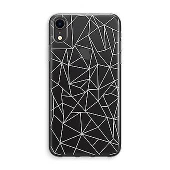 iPhone XR Transparant Case (Soft) - Geometric lines white