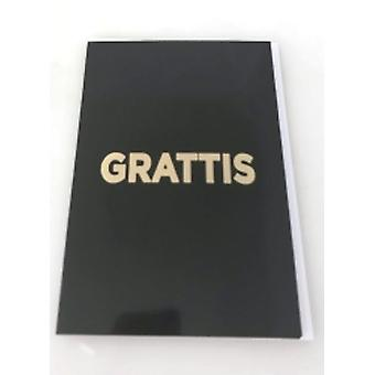 Birthday card 4-pack with envelopes, Black with gold text 13 x 19 cm
