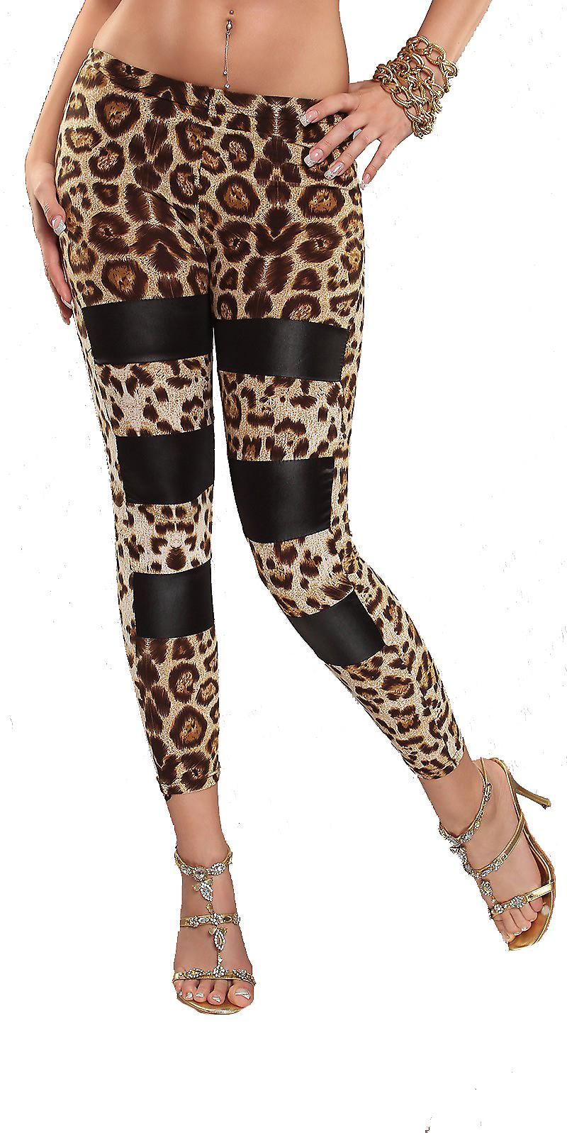 Waooh - Fashion - Leggings Long Leopard and decorated with black stripes
