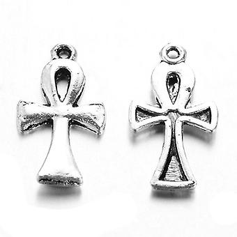 Packet 6 x Antique Silver Tibetan 22mm Egyptian Ankh Cross Charm/Pendant Y08170