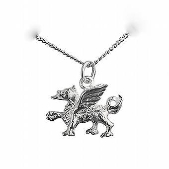 14x18mm Welsh Dragon ciondolo con una pollici marciapiede 24 catena in argento