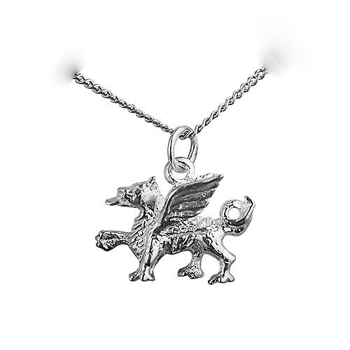 Silver 14x18mm Welsh Dragon Pendant with a Curb chain
