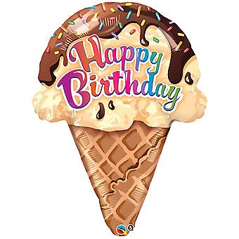 Qualatex 27 Inch Your Happy Birthday Ice Cream Cone Design Foil Balloon