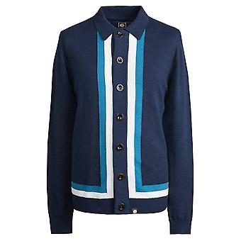 Pretty Green Navy Contrast Panel Knitted Shirt