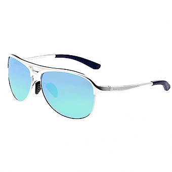 Breed Jupiter Aluminium Polarized Sunglasses - Silver/Blue-Green