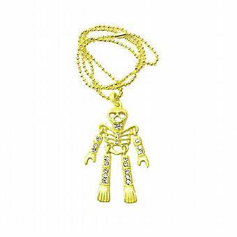 Halloween des corps squelette jaune pendentif collier Diamante bijoux
