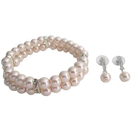 Fine Pastel Pink Pearl Blush Pink Bracelet Matching Earrings Bridesmaid Set