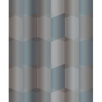 Grandeco Radial krikand grå metalliske geometriske Textured 3d sekskant tapet