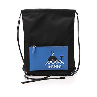 Prada Light Blue/black Nylon Backpack