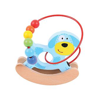 Bigjigs Toys Wooden Mini Dog Push Along Bead Frame Sensory
