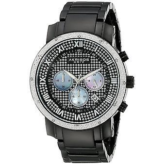 Akribos XXIV Männer es Diamantakzentuierter Schwarzer Chronograph Bracelet Watch AK439BK