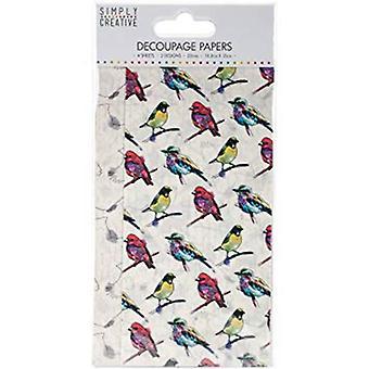 Trimcraft Simply Creative FSC Decoupage Paper - Vibrant Birds (SCDEC067)