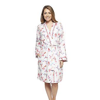 Cyberjammies 4205 Women's Evie Ivory Off-White Hummingbird Print Cotton Short Robe