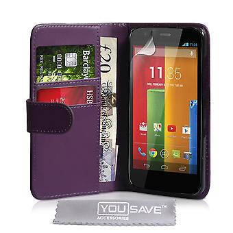 YouSave-Motorola Moto G LeatherEffect Wallet Case paars