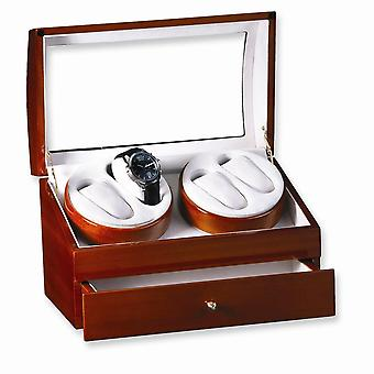 Light Oak Finish High Gloss Finish 2-Turntable Quadruple Watch Winder
