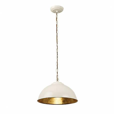 1 lumière Dome Ceiling pendentif or Leaf, Gloss Cream Paint