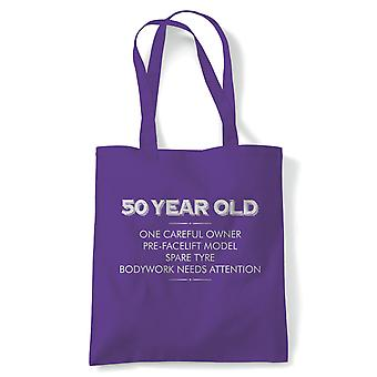 50 Year Old One Careful Owner Funny Tote | Humour Laughter Sarcasm Jokes Messing Comedy | Reusable Shopping Cotton Canvas Long Handled Natural Shopper Eco-Friendly Fashion