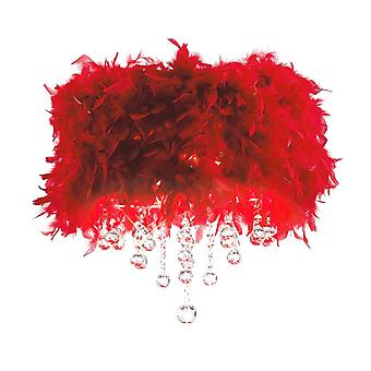 Diyas Ibis Ceiling With Red Feather Shade 3 Light Polished Chrome/Crystal