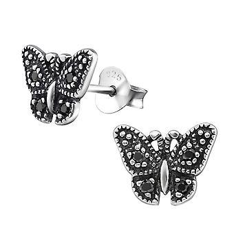 Butterfly - 925 Sterling Silver Cubic Zirconia Ear Studs - W30802X