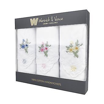 3 Pack Womens/damer lommetørklæder blomstret hvid bomuld kammusling blondekant boxed