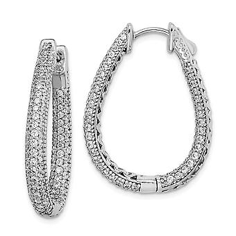 925 Sterling Silver Pave Polished Safety clasp Rhodium-plated Rhodium Plated With Cubic Zirconia Teardrop Hinged Hoop Ea